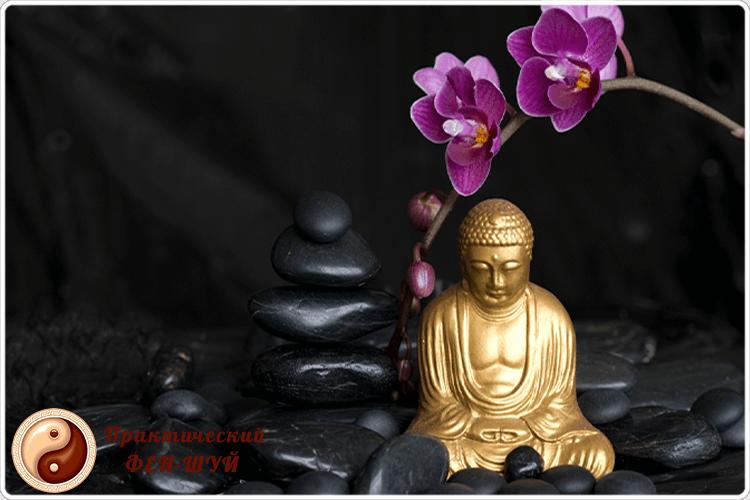 будда с цветками